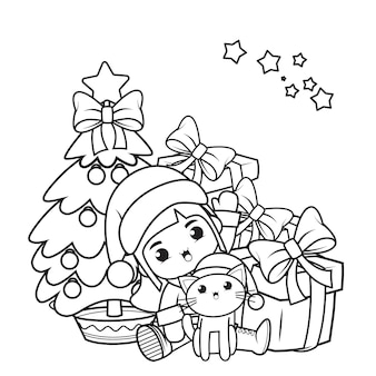 かわいい女の子とクリスマスの塗り絵_24