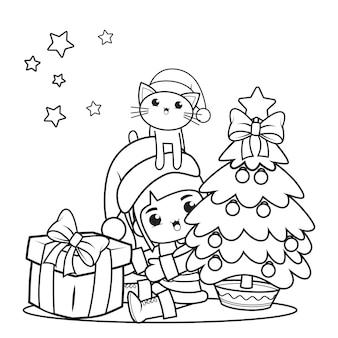 かわいい女の子とクリスマスの塗り絵12