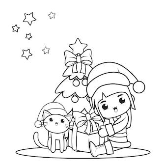 かわいい女の子とクリスマスの塗り絵14