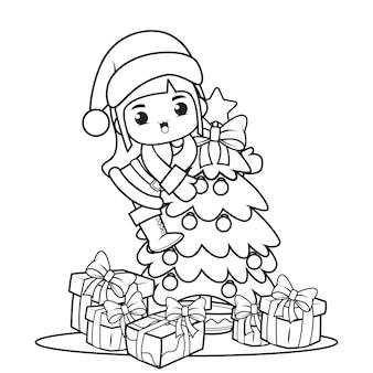 かわいい女の子とクリスマスの塗り絵1