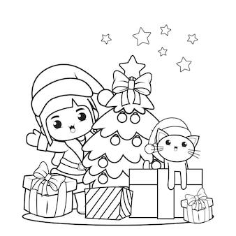 かわいい女の子とクリスマスの塗り絵28