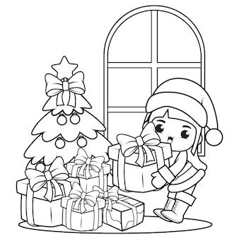 かわいい女の子とクリスマスの塗り絵2