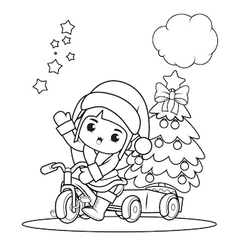 かわいい女の子とクリスマスの塗り絵35