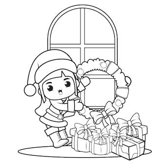 かわいい女の子とクリスマスの塗り絵3