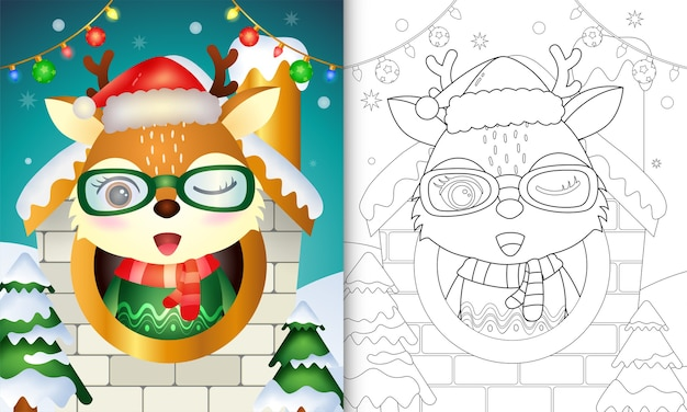 Christmas coloring book with a reindeer with glasses