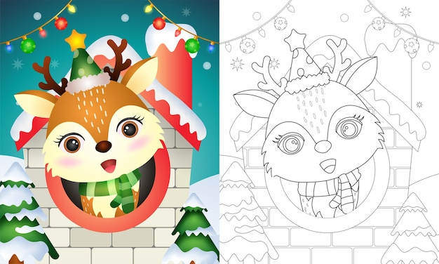 Christmas coloring book with a reindeer