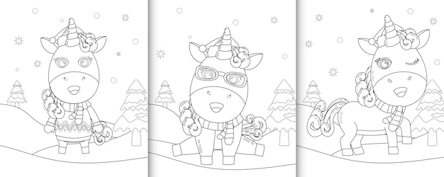 Christmas coloring book with an unicorn