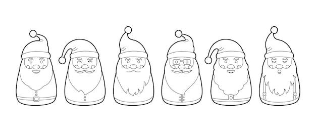 산타클로스가 있는 크리스마스 색칠 페이지, 귀여운 만화 캐릭터 세트, 새해 컬렉션, 겨울 휴가