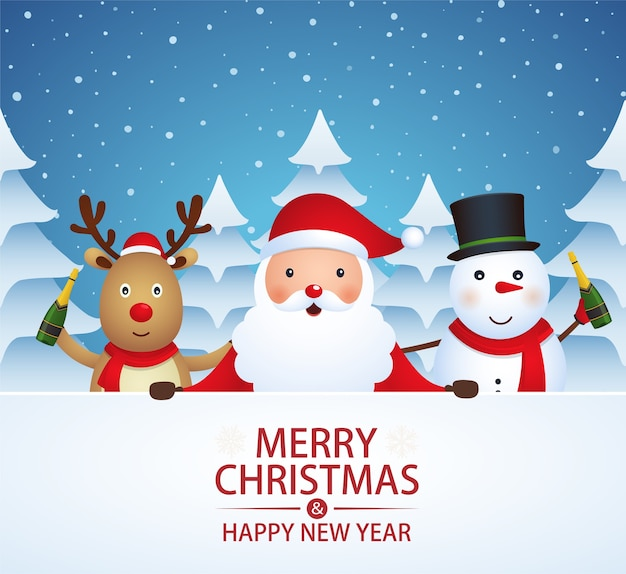 Christmas companions with champagne on a snow-covered background with christmas trees. santa claus, snowman, reindeer on winter background.