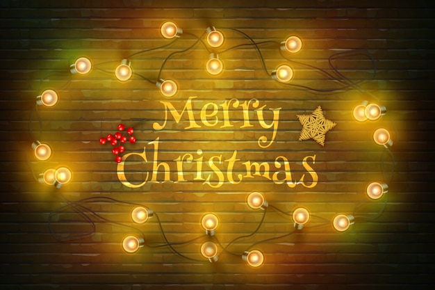 Christmas composition on dark wooden background with wishes and garland.