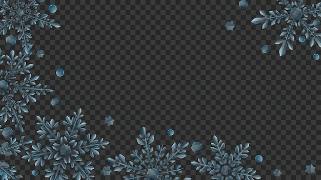 暗い背景で使用するための水色の大きくて複雑な透明な雪片のクリスマスの構成。ベクトル形式のみの透明度
