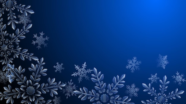 暗いグラデーションの背景に水色の大きな複雑な透明な雪片のクリスマスの構成。ベクトル形式のみの透明度