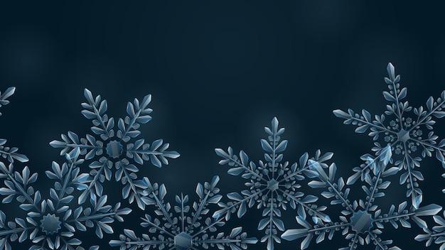 暗いグラデーションの背景に水色の大きな複雑な透明な雪片のクリスマスの構成。横型繰り返しパターン付き。ベクトル形式のみの透明度