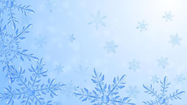 グラデーションの背景に水色の大きな複雑な透明な雪片のクリスマスの構成。ベクトル形式のみの透明度