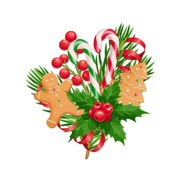 가문비 나무 나뭇 가지 진저 브레드 남자와 트리 홀리의 크리스마스 구성