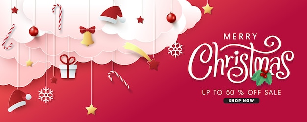 Christmas composition in paper cut style sale banner background.