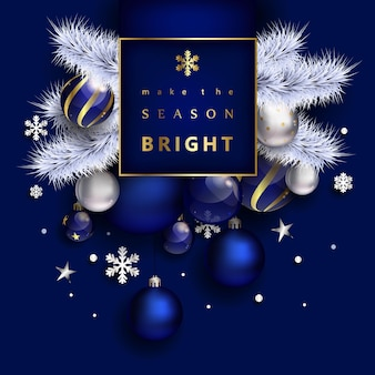 Новогодняя композиция с шарами и снежинками синего цвета
