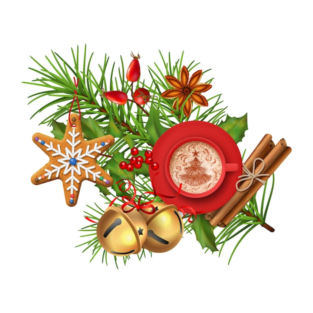 Новогодняя композиция с пряниками и чашкой кофе