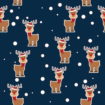 Christmas concept cute deer with xmas hat seamless pattern