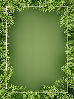 Christmas concept - detailed frame with fir.