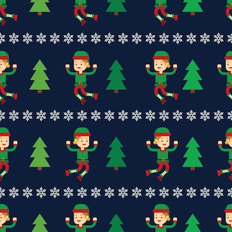 Christmas concept elf with christmas tree seamless pattern
