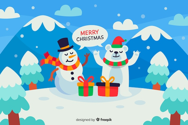 Christmas concept in flat design with snowman