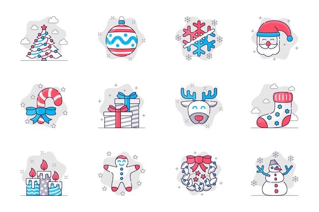 クリスマスのコンセプトのフラットラインアイコンは、モバイルアプリの新年あけましておめでとうございますお祝いの装飾を設定します