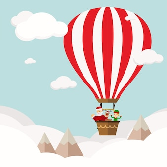 Christmas concept Funny new year's company in hot air ballon