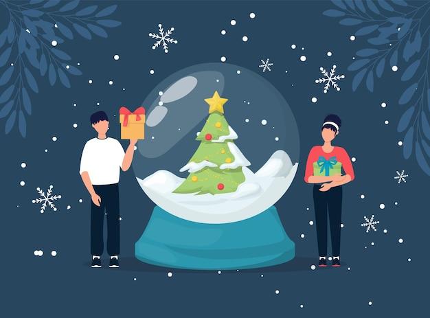 クリスマスのコンセプト。雪とクリスマスツリー、ベクトルイラストと人々のスノードーム。魔法の冬の休日のガラス地球儀。メリークリスマスクリスタルの魔法のグリーティングカード。贈り物を持つ男と女