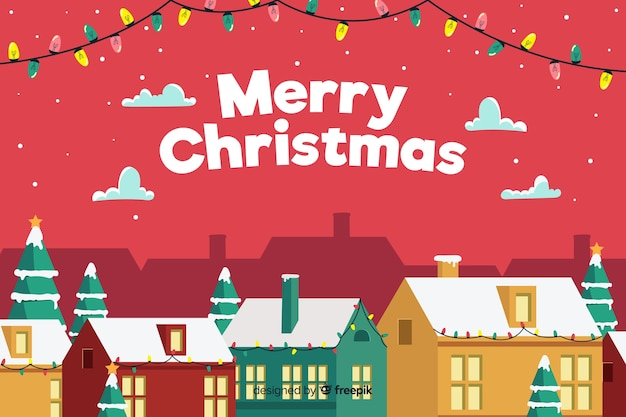 Christmas concept with flat design background