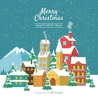 Christmas concept with flat design town
