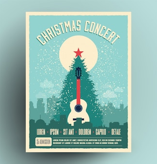Christmas concert retro poster for live musical event with christmas tree and acoustic guitar