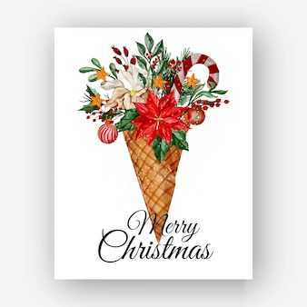 Christmas cone with flower poinsettia watercolor illustration
