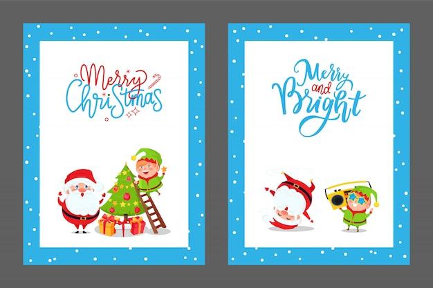 Christmas congratulation cards with santa and elf