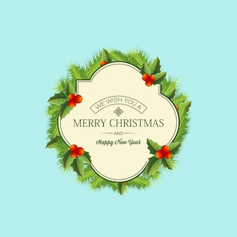 フレームのモミの枝のテキストとターコイズブルーのイラストのヒイラギの果実とクリスマス針葉樹の花輪テンプレート