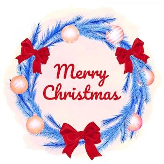 ボールと弓でクリスマス針葉樹の花輪