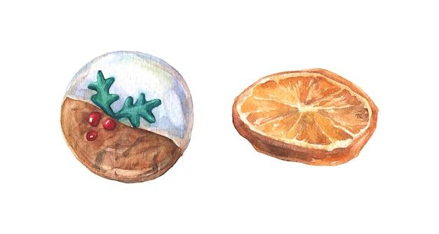 ベクトルのクリスマスクッキーと乾燥オレンジ分離水彩要素