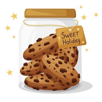 おいしいチョコレートクッキーが入ったクリスマスクッキージャー。