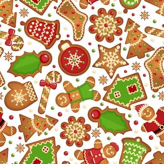 クリスマスのクッキーの背景。クリスマスクッキーのシームレスなお祝いのパターン