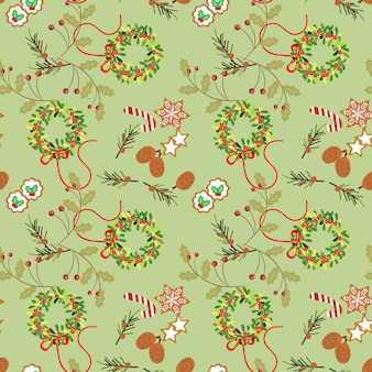 Christmas cookies and berry seamless pattern