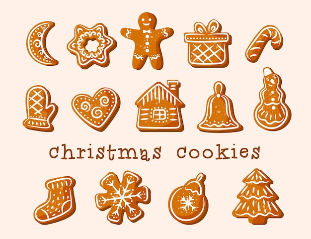 Рождественское печенье. имбирный пряник. восхитительные фигурки декорированы белой глазурью.