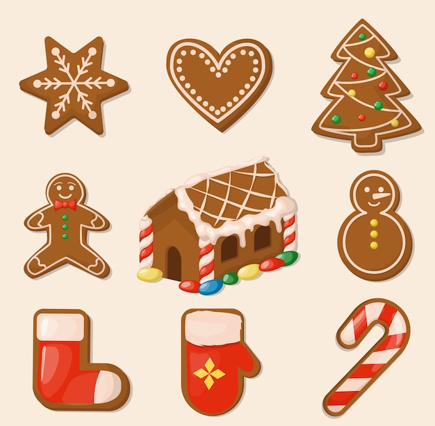 Christmas cookies. gingerbread house. sweet holiday food. traditional homemade dessert ginger snack.