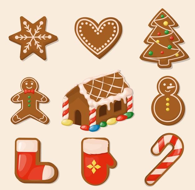 크리스마스 쿠키. 진저 브레드 하우스. 달콤한 휴가 음식. 전통 수제 디저트 생강 스낵.