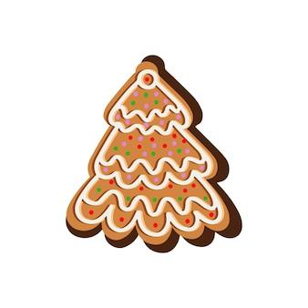 Рождественское печенье в форме елки векторные иллюстрации