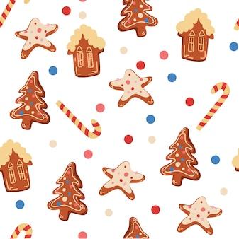 クリスマスクッキーのシームレスなパターン。ジンジャーブレッドクッキー。クリスマスをテーマにしたデザインの新年のパターン。ベクターの冬休みは、テキスタイル、壁紙、ファブリック用に印刷されます。