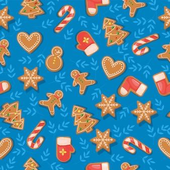 크리스마스 쿠키 원활한 패턴 진저 하우스 달콤한 휴일 음식