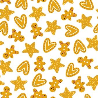 クリスマスクッキーのシームレスなパターン。手描きイラスト。心と星を持つジンジャーブレッドマン。