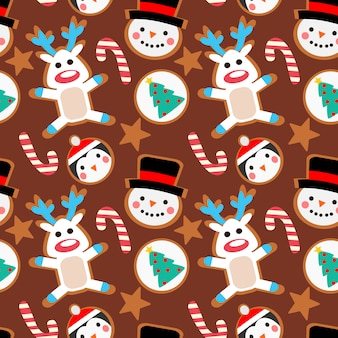 Christmas cookies seamless pattern.