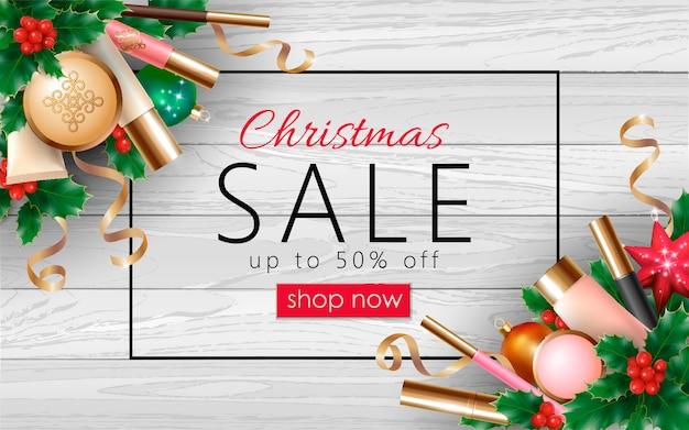 クリスマス化粧品販売3 d現実的なwebバナーテンプレート。女性メイクアップパッケージ