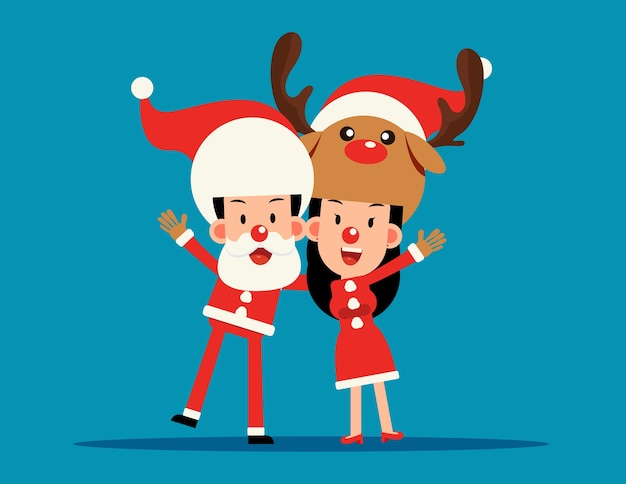 크리스마스 의상. 어깨 너머로 산타 클로스와 순록 팔.